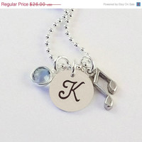 On Sale Personalized Hand Stamped Music Note Initial Necklace, Band Initial Charm Necklace with Music Note Charm and Swarovski Crystal Birth