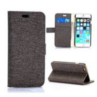 Cloth Texture Wallet Style Magnetic Flip Stand PC+ PU Leather Case for iPhone 6 Plus 5.5 inch (Brown)