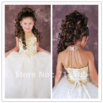 Free Shipping Hot sale Ball Gown High Neck Bandage Floor Length Flower Girl Dresses With Beading and Sequined-in Flower Girl Dresses from Apparel & Accessories on Aliexpress.com