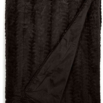 Cathay Home Lofty Luxe Faux Fur Blanket, King, Chocolate