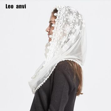 Leo anvi 2017 Lace Infinity scarf women Ivory white Mantilla Traditional catholic chapel veil hijab scarf and wraps muslim hijab