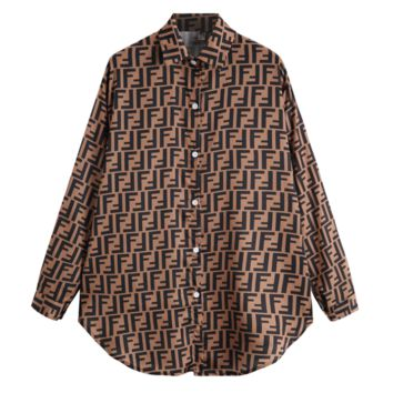 Fendi Fashion New More Letter Leisure Loose Women Long Sleeve Top Shirt Brown