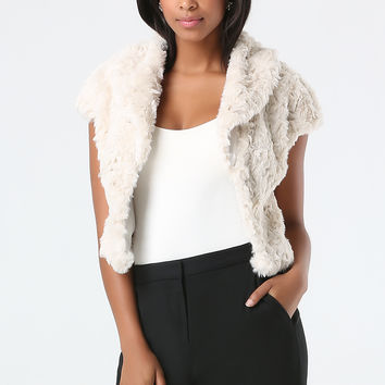 bebe Womens Gwenna Faux Fur Jacket Beige
