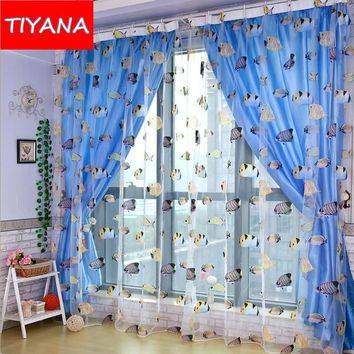 Cartoon Sea Fish Pattern Voile Curtains for Living Room Funny Solid Blue Blackout Cloth For Children Boy Bedroom Balcony WP219&3