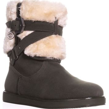 G by GUESS Alixa Fuzzy Lined Pull On Short Winter Boots, Dark Green, 8 US