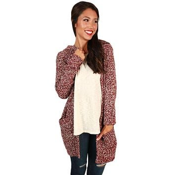 Heathered Red Long Sleeve Hooded Long Cardigan
