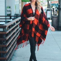 Plaid Checkered Tassel Poncho, comfy and adorable