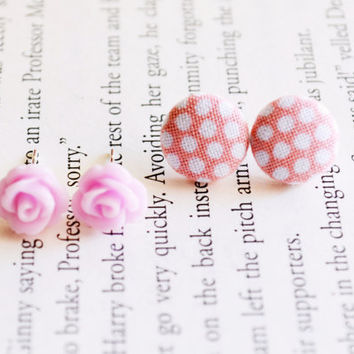 Tiny Pink Rose Earrings, Rose Earrings, Pink Roses, Tiny Roses, Resin Flower, Resin Earrings