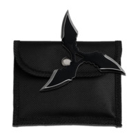 """4"""" Black 4mm Thick Throwing Star w/ Nylon Pouch"""