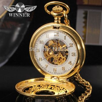 T-Winner Men's Classic Brand Pocket Watch Brass Cowboy Chain Gold Color Mechanical Skeleton Watch Whole Sale  WRG8018M5G1