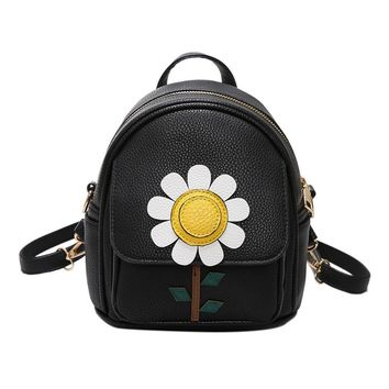 New Fashion PU Leather Flowers Backpacks For Women Mini Bags For Teenagers Girls Backpack Student Sweet Lady School Bag Mochila