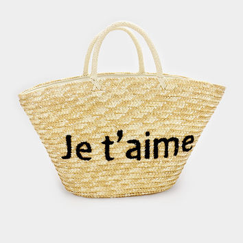 Je T'aime Straw French Basket Tote Bag