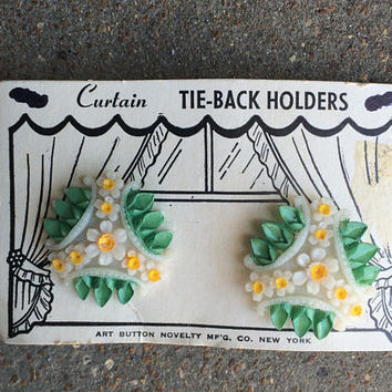 Vintage Curtain Tie Back Holders Old Antique Plastic