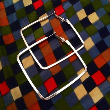 Vintage silvertone architecturally modern looking Square shaped Hoop earrings