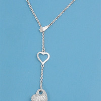 Sterling Silver and CZ Heart Dangle Necklace
