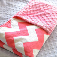Pink and White Chevron Minky Baby Blanket