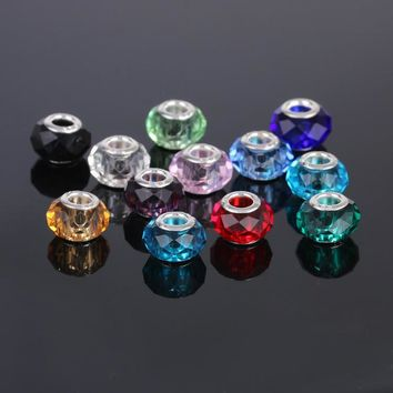 Mixed colors 12pcs/lot faceted Murano Glass Beads Crystal Charms fit European pandora
