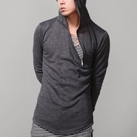 Mens Asymmetric Zip-up Arm Warmer Hoodie at Fabrixquare