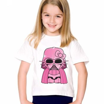 18M-10T Print Modal Pink Darth Vader T shirt For Boys/girls Star War T-Shirts for Children Baby Girls Clothing TA177