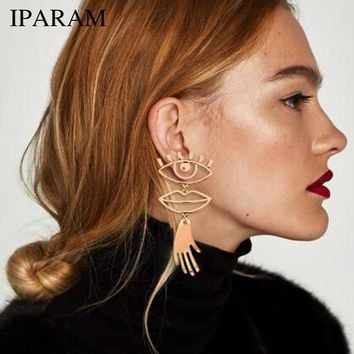 IPARAM Abstract Art Gold Color Chic Palm Statement Dangle Earrings Hyperbole Big Eyes Tassel Earring For Women Fashion Bijoux