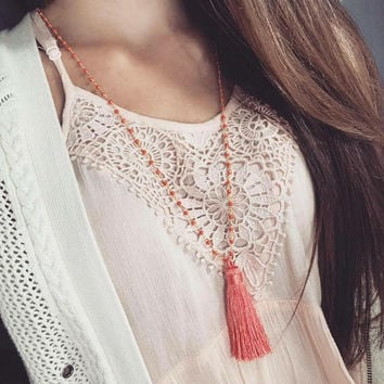 Coral Tassel - Tassel Necklace - Beaded Necklace - Coral Necklace - Yoga Necklace - Mala Necklace - Long Tassel Necklace - Hippie Necklace