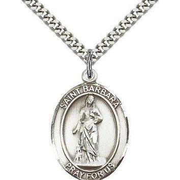 "Saint Barbara Medal For Men - .925 Sterling Silver Necklace On 24"" Chain - 30... 617759574531"