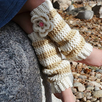 Crochet Leg Warmers for Girls, Cream and Tan w/ Flower, Ready To Ship