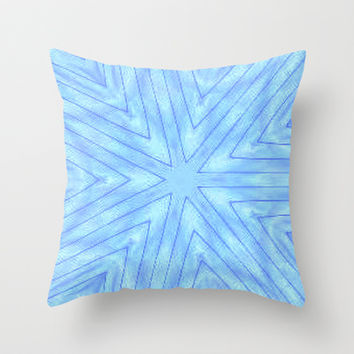 Turquoise & Blue Paper Snowflakes Throw Pillow by 2sweet4words Designs
