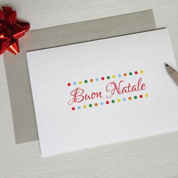 Boun Natale christmas card Merry Christmas in italian xmas greeting card colorful dots
