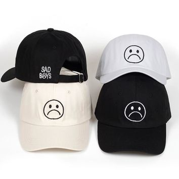 Trendy Winter Jacket Sad Boys dad hat Adjustable cotton Harajuku Skateboard Hats crying face Baseball cap cotton Black Hats Curve golf Caps  AT_92_12