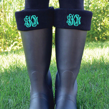 Monogrammed Boot Cuff Socks              Personalized Fleece Boot Inserts                                  New Englander Boot Socks Black