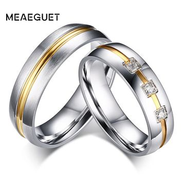 Meaeguet Silver Color Classic Lover's CZ Stone Engagement Rings Stainless Steel Couple Anel Wedding Bands Jewelry