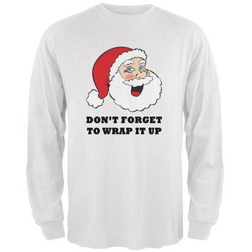 CUPUPWL Christmas Santa Wrap it Up Funny Mens Long Sleeve T Shirt