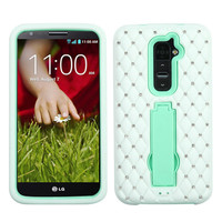 Rugged Symbiosis w/ Diamonds Stand Case for LG G2 - White/Mint Blue