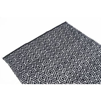 Diamond Patterned Cotton Chenille Rug, Black And White