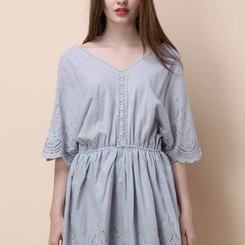 Tender Sweet Embroidered Dress in Lavender