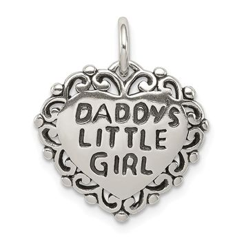 Sterling Silver 16mm Antiqued Daddy's Little Girl Heart Pendant