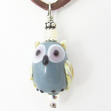Owl Necklace, Glass Owl Necklace, Suede Cord Necklace, Brown Suede Necklace, Cord Owl Necklace, Cute Owl Jewelry