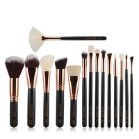 2017 Professional 15Pcs Rose Gold Makeup Brushes Set Kit Foundation Brush Tool Makeup Brusher Wooden Handle for Ladies and Girls