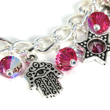 Charm Bracelet - Array of Stars and Hamsa Chamsas