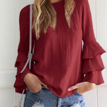 Red Round Neck Layered Fluted Sleeve Keyhole Button Top