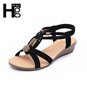 HEE GRAND 2017 Summer Vintage Women Sandals Gladiator Wedge Woman Shoes Beach Flip Flops Bohemia XWZ591
