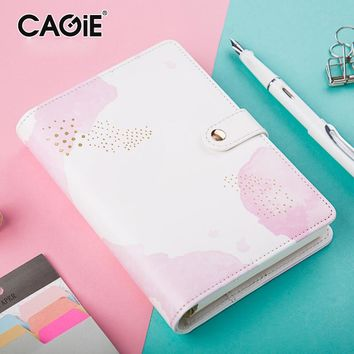 Cute Notebook Cagie Kawaii Diary a6 Planner Ring Binder Spiral Leather Journal Lined Paper Traveler Notebooks and Journals