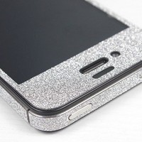 Nice Silver Cool Shiny Rhinestone Cover Skin Sticker For Iphone 4s