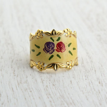 Vintage Sterling Silver Flower Ring - Size 6 3/4 Yellow Enamel Flower Gold Wash Jewelry / Floral Roses