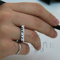 Name ring, silver name ring, name jewelry