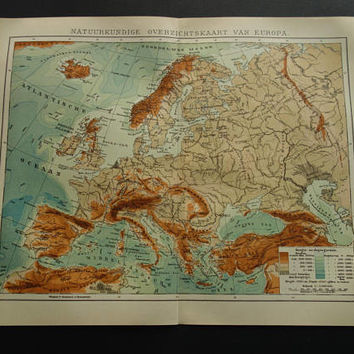 Old height map of Europe 1907 original antique Dutch print about European Continent mountains and rivers vintage maps poster Europa karte