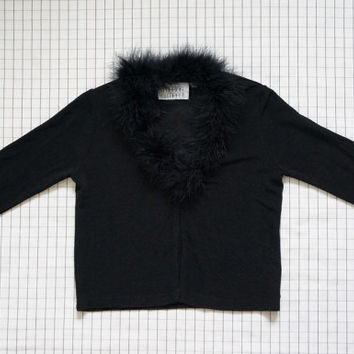 90's Black Marabou Feather Jacket, Clueless, 90's Clue Kid, Rave, Soft Grunge, Rock, Tumblr, M
