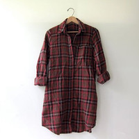 20% OFF SALE. Vintage boyfriend flannel / Grunge Shirt Dress / flannel tunic