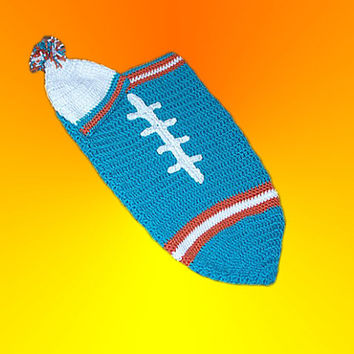 Miami Dolphins Inspired Football Baby Cocoon & Hat (Newborn to 3 months)
